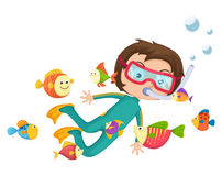 Boy scuba diving  Royalty Free Stock Photo