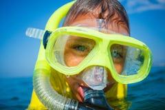 Boy scuba diving. Royalty Free Stock Photos
