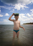 Boy with scuba mask Royalty Free Stock Photo