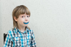 Boy sculpts from plasticine at home Stock Photo