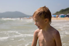 Boy and sea Royalty Free Stock Image
