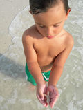 Boy with sea shell Royalty Free Stock Images