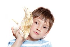 Boy with sea shell over white Royalty Free Stock Image