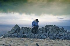 Boy on sea Stock Photography