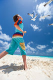 Boy and seagulls Royalty Free Stock Photo