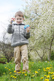 Boy searching Easter eggs among grass Stock Photo