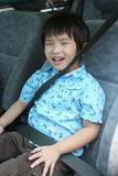 Boy with seat-belt Stock Images