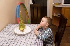 Boy sees herringbone Stock Photos