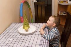 Boy sees herringbone Royalty Free Stock Image