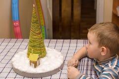 Boy sees herringbone Stock Images
