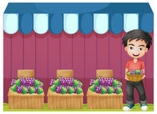A boy selling grapes Royalty Free Stock Images