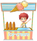 A boy selling ice cream. Illustration of a boy selling ice cream on a white background royalty free illustration