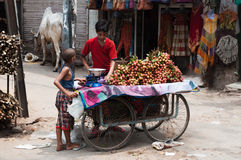 Boy Selling Litchi Fruit At Street Of New Delhi Royalty Free Stock Image