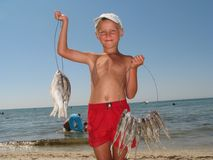 The boy sells  fish Stock Photography