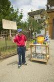 Boy sells lemonade Stock Photo