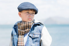 Boy with a serious look Stock Images