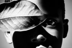 Boy with leaf in shadows. Male portrait with leaf as mask Stock Photography