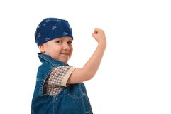 Boy shake fist for threat warning Stock Photography