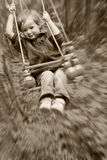Boy shakes on a swing royalty free stock images