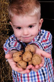 Boy shares nuts Royalty Free Stock Photo