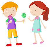 Boy sharing candy with the girl. Illustration stock illustration