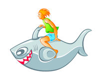 Boy on shark rocket Royalty Free Stock Photos