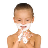 Boy shaving Stock Photography