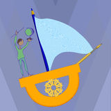A boy on a ship of the protractor Royalty Free Stock Image