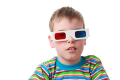 Boy in shirt and anaglyph glasses Stock Photography