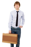 Boy in a shirt holding a box Royalty Free Stock Photos