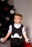 Boy in shirt and waistcoat exclaims. In surprise Stock Photography
