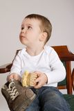 Boy with shoe Royalty Free Stock Image