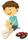 Boy and shoes. Illustration of a boy putting on shoes Stock Image