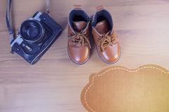 Boy shoes with camera stock photography