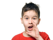 Boy shooting. Young boy gives a yell - isolated royalty free stock photos