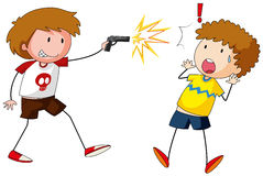 Boy shooting gun at other boy. Illustration Stock Images