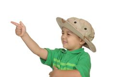 Boy shooting with his finger Royalty Free Stock Images