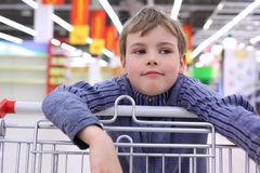 Boy in shop with  cart Stock Photography