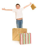 Boy with shopping bag Stock Image