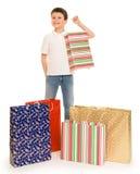 Boy with shopping bag Royalty Free Stock Photos