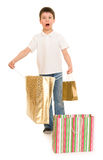 Boy with shopping bag Royalty Free Stock Photo