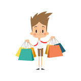 Boy Shopping Bags Stock Images