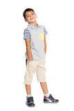Boy in shorts. Isolated on white. Six years stock image