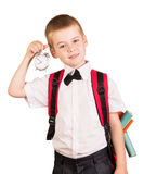 Boy should go to school isolated on white background. Royalty Free Stock Images