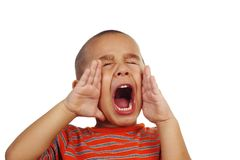 Boy shouting. Portrait of a young boy yelling Royalty Free Stock Image