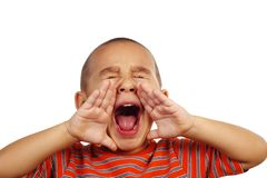 Boy shouting. Horizontal portrait of a young hispanic boy shouting Royalty Free Stock Photos