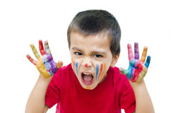 Boy Shouting with Colorful Hands Royalty Free Stock Photography