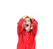 Boy shouting madly Stock Photography