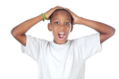 Boy shouting madly. With his hands over his head Royalty Free Stock Image