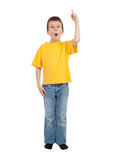 Boy show finger Royalty Free Stock Photo